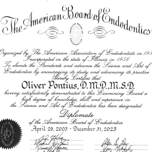 Diplom American Board of Endodontics - Dr. Oliver Pontius, Bad Homburg