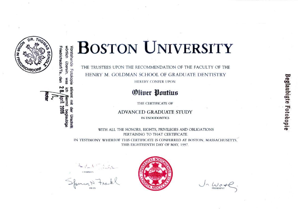 Boston University Advanced Graduate - Dr. Oliver Pontius