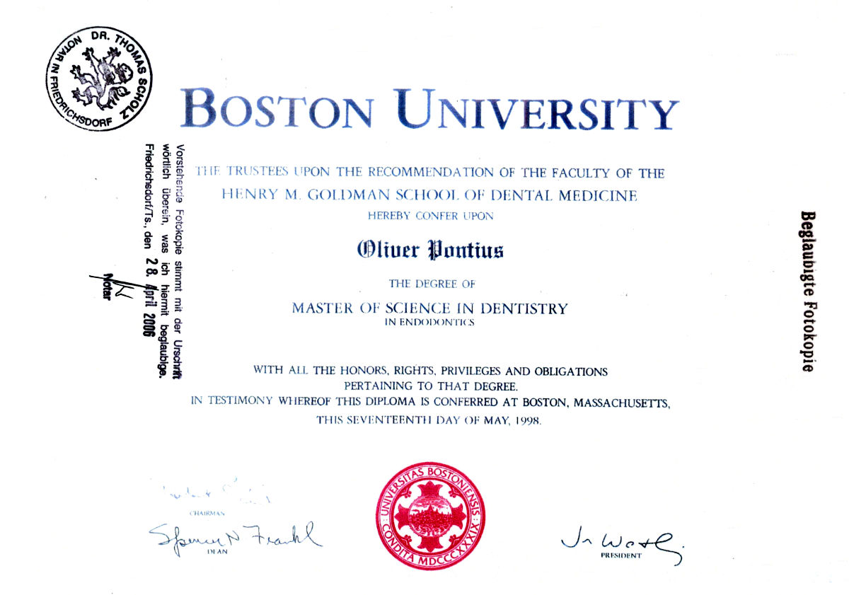 Boston University Master of Science - Dr. Oliver Pontius
